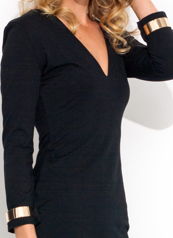 Cuffed Up V Neck Dress BLACK