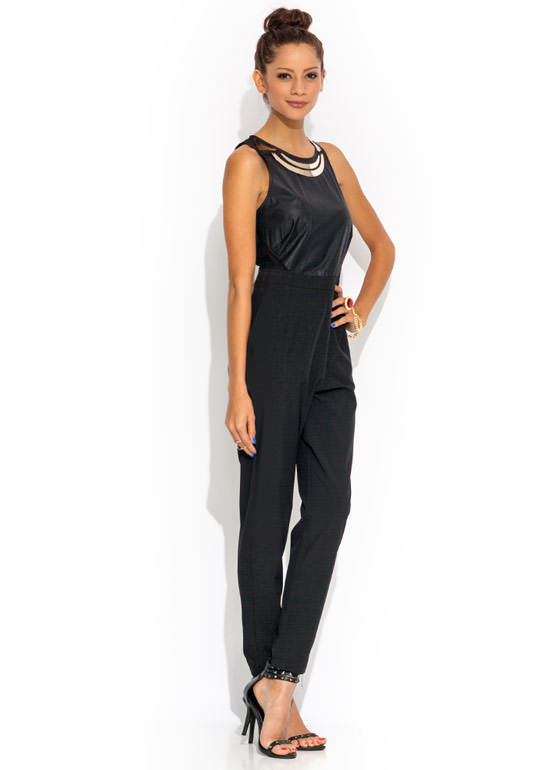 Platers Club Mesh Inset Jumpsuit BLACKGOLD