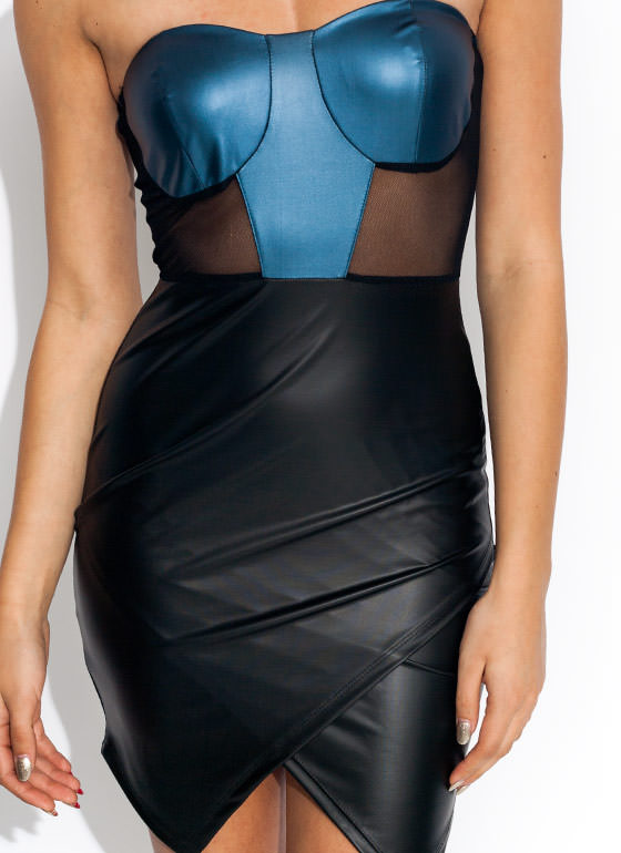 Its A Wrap Bustier Dress BLUEBLACK