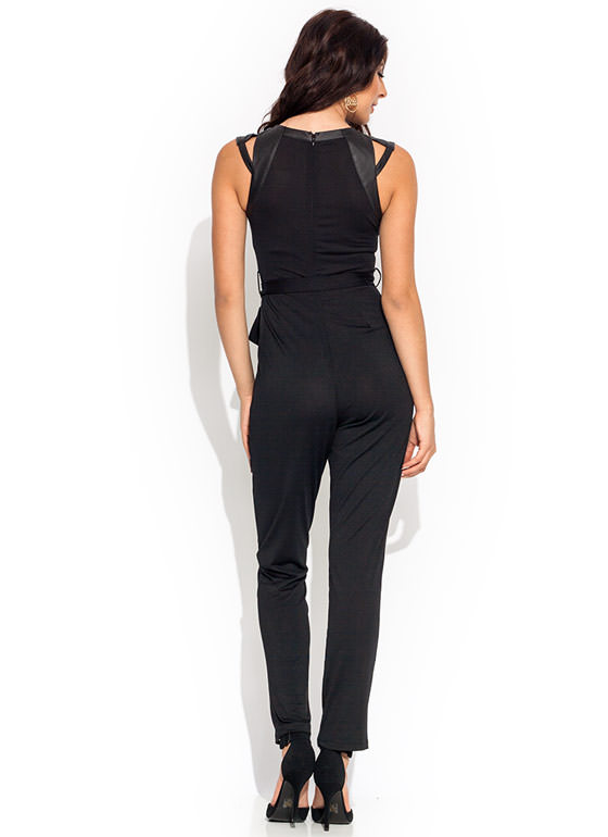 Faux Leather Pleated Jumpsuit BLACK