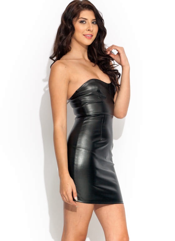 Faux Leather Stacked Strapless Dress BLACK
