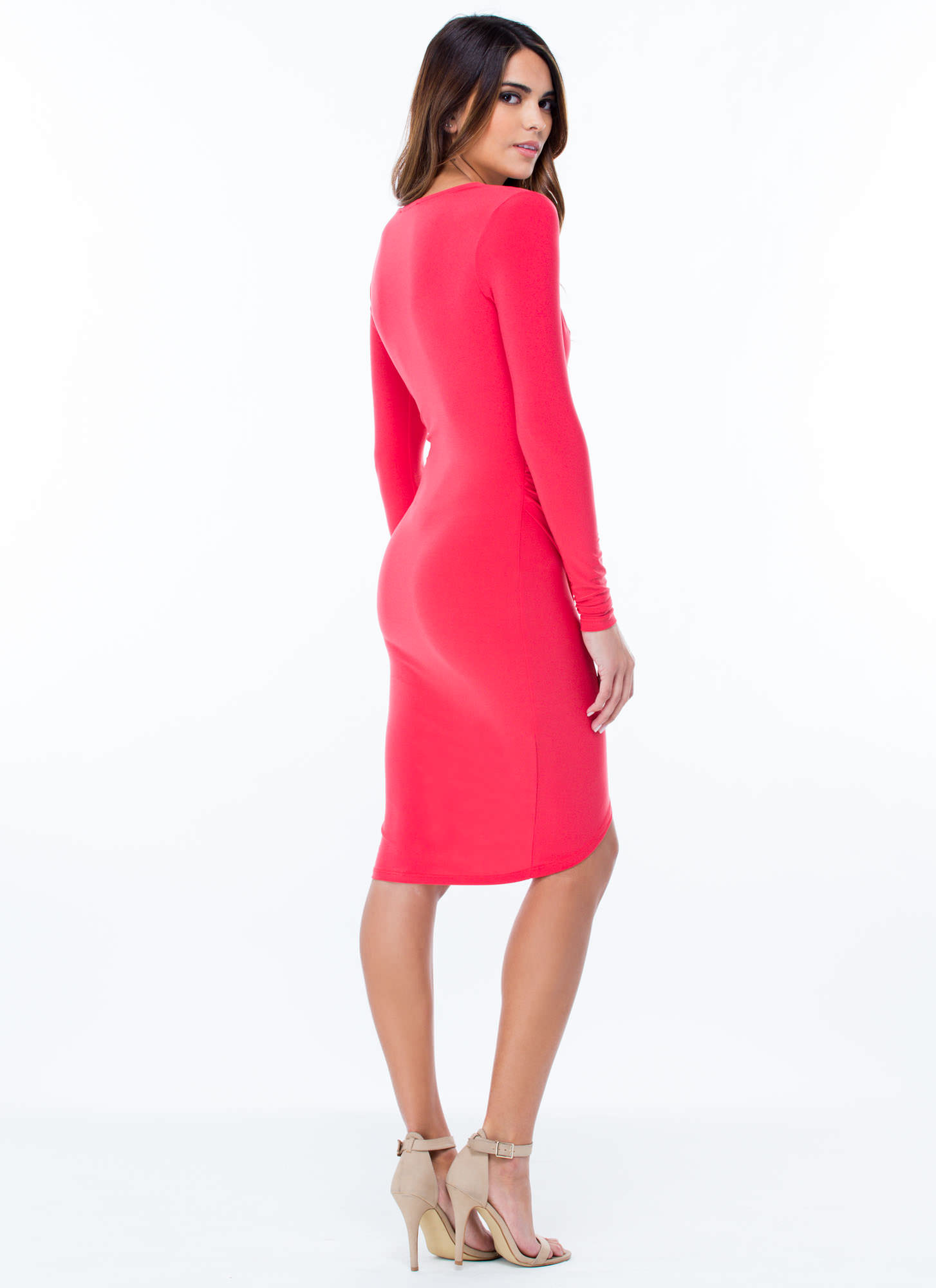 Surplice Faux Wrap Dress CORAL