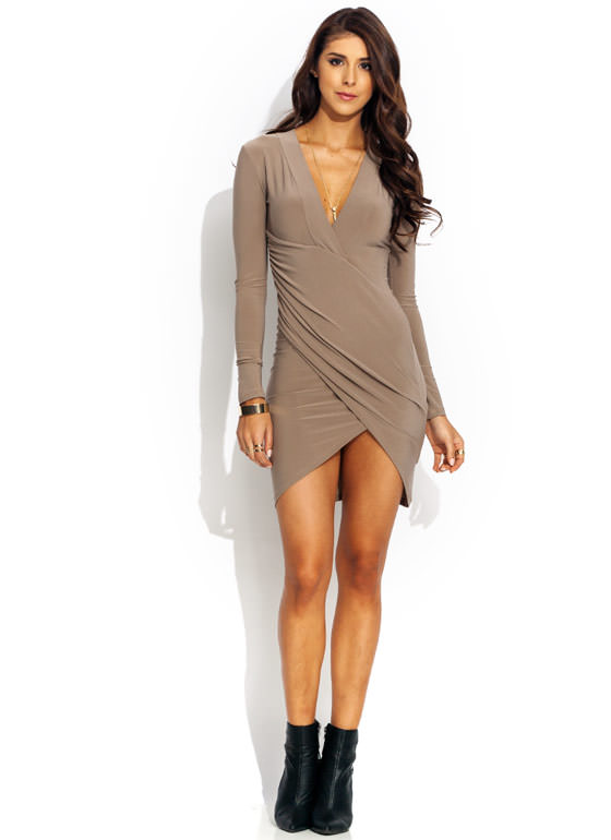 Surplice Faux Wrap Dress MOCHA