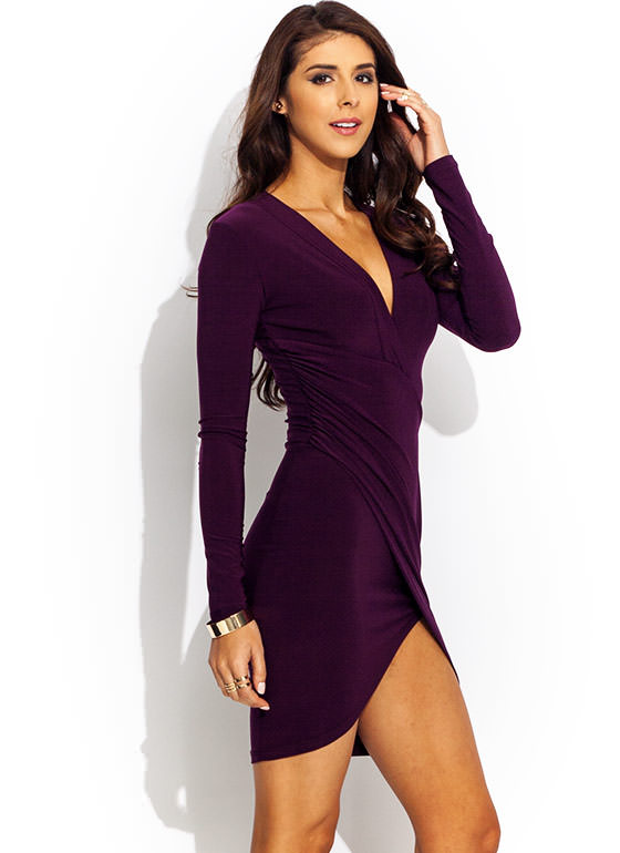 Surplice Faux Wrap Dress WINE