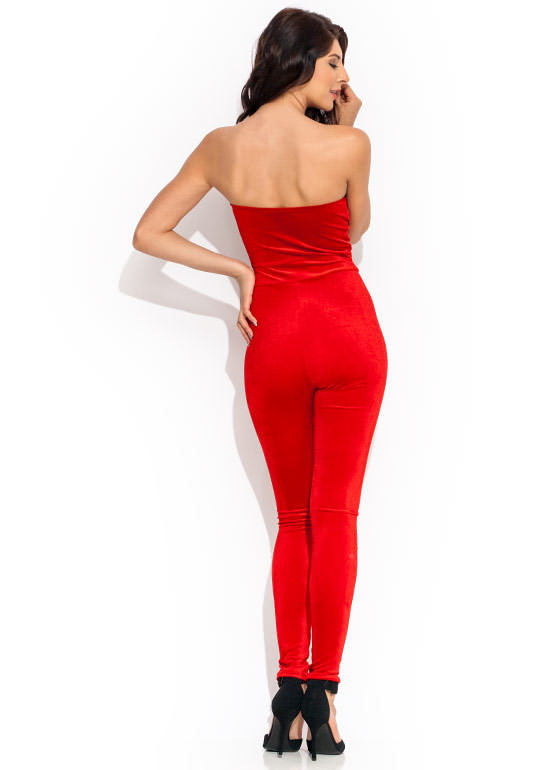 Velvet Bustier Jumpsuit RED