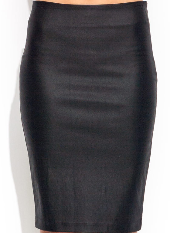 Coated Elementary Pencil Skirt BLACK
