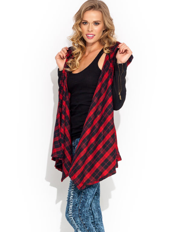 Hooded Tartan Flyaway Jacket REDBLACK (Final Sale)