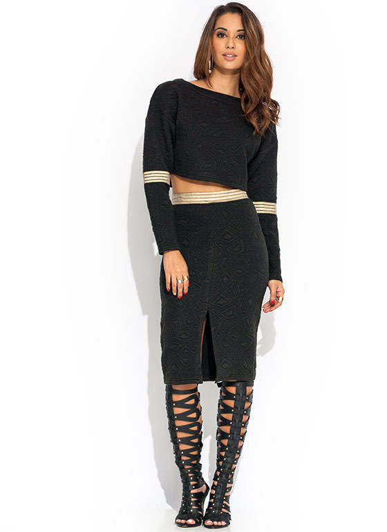 Geometric Stitch Pencil Skirt BLACK