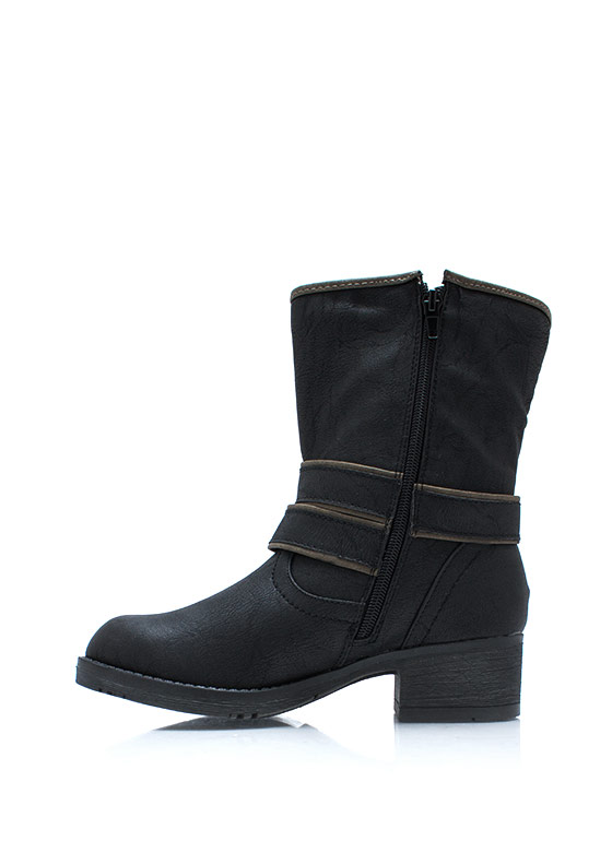 Plus One Studded Strappy Boots BLACK