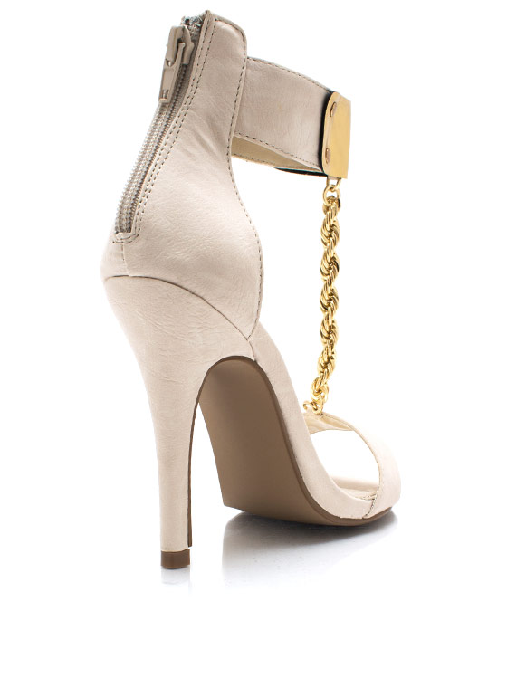 Do The Twist Chain Heels NUDE (Final Sale)