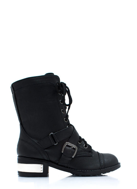 Heeling Power Combat Boots BLACK