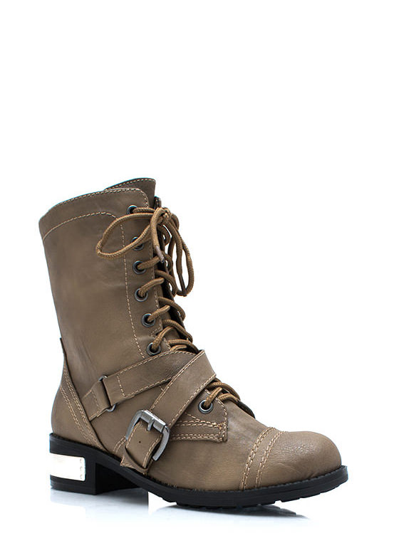 Heeling Power Combat Boots TAUPE