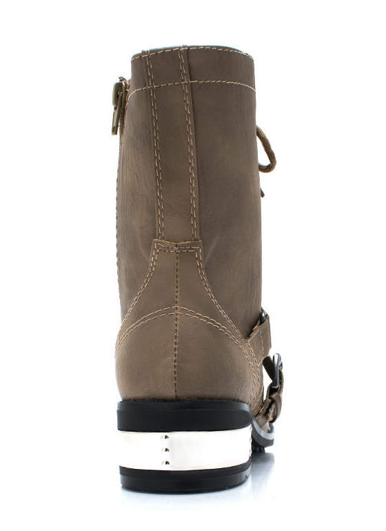 Heeling Power Combat Boots TAUPE (Final Sale)