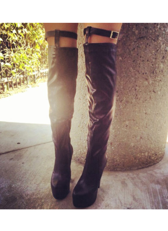 Wow Factor Thigh High Boots BLACK