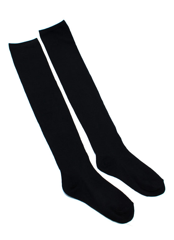 Extra Long Thigh High Socks BLACK (Final Sale)