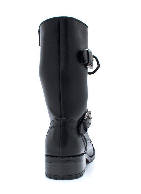 Mess Hall Double Buckle Boots BLACK