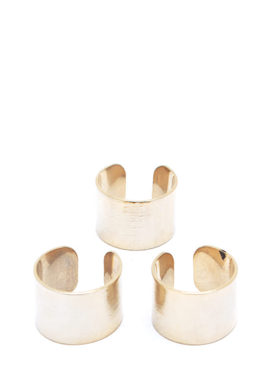 Textured Ring Trio GOLD