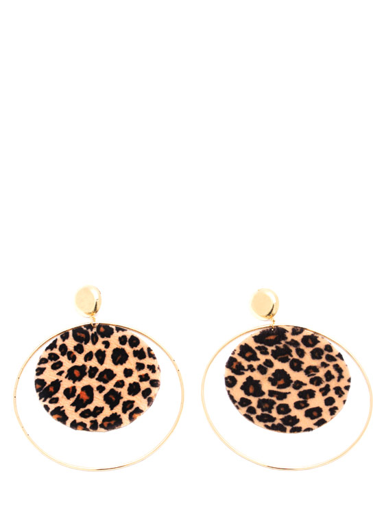 Long Gong Leopard Hoop Earrings GOLDLEO