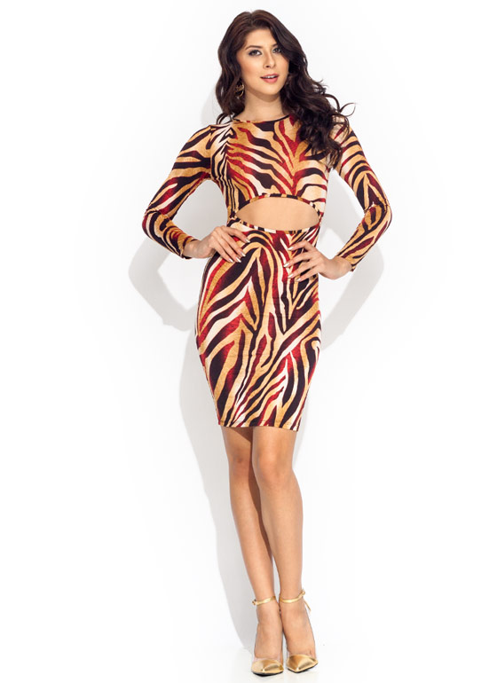 Cut Out Zebra Dress REDCAMEL