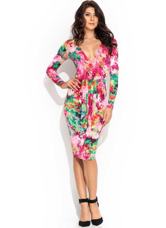 Come Into Bloom Ruffled Dress PINKMULTI