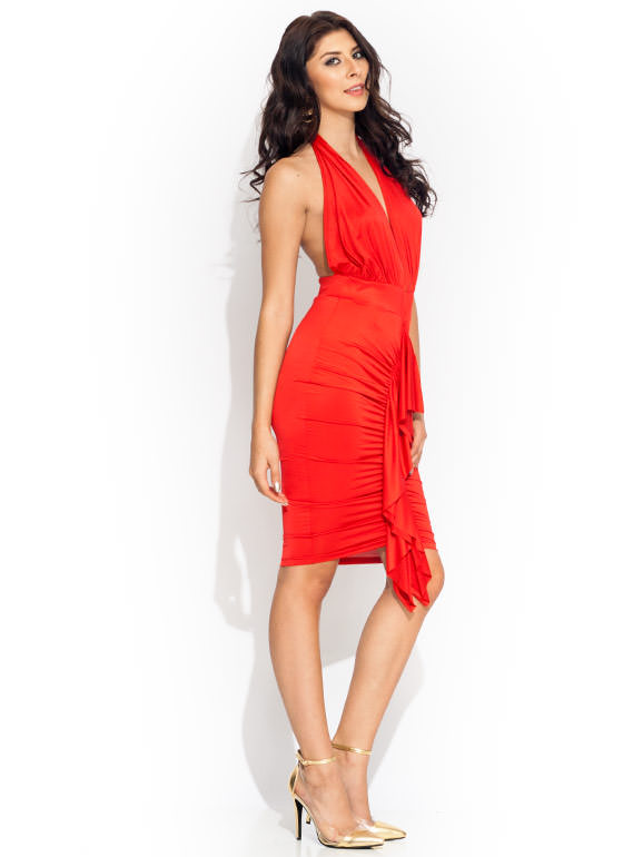 Come To A Halter Ruffled Dress RED