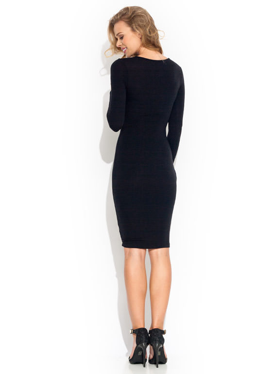 Crossed Signals Midi Dress BLACK