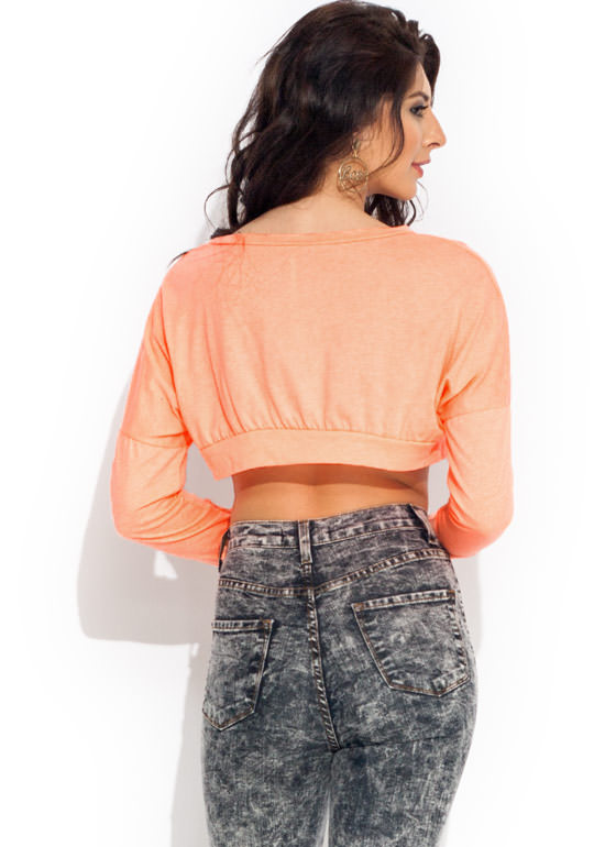 Homies 4 Life Cropped Top NEONORANGE