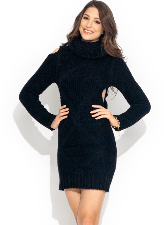 Cable Knit Cold Shoulder Dress BLACK