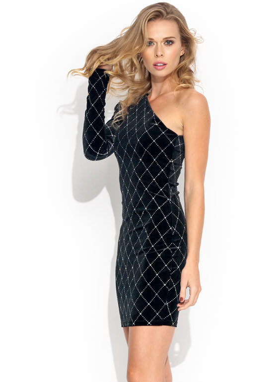 Glitterati Quilted Velvet Dress BLACK