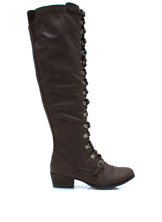 Lace Up Corset Riding Boots BROWN