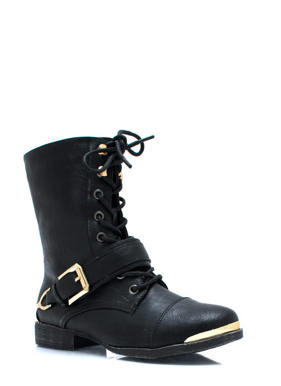 Spur It Up Metal Combat Boots BLACK