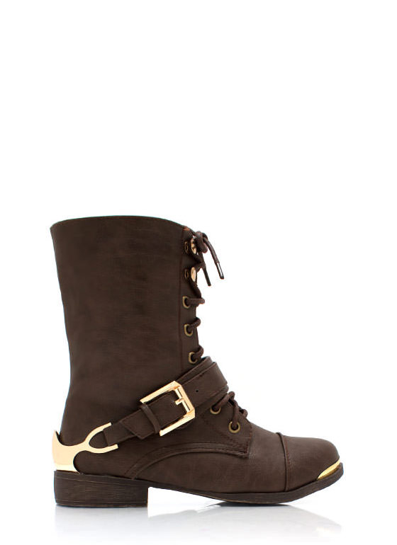 Spur It Up Metal Combat Boots BROWN