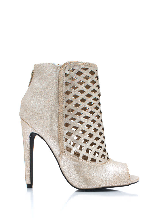 Heel Your Pane Metallic Booties LTCHAMPAGNE
