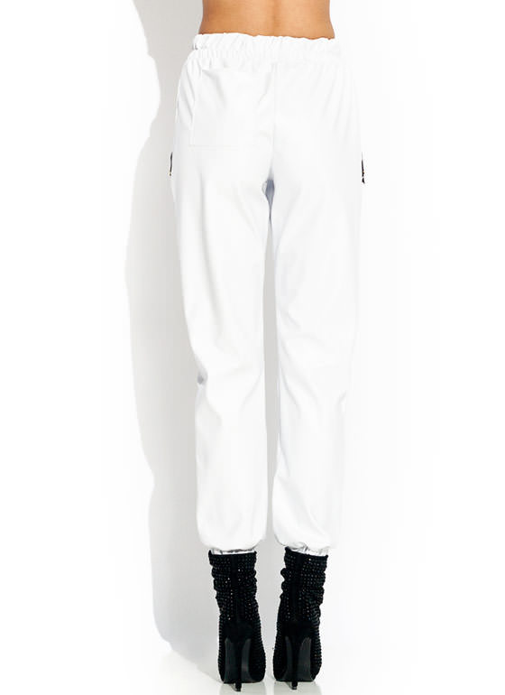 Zipped Faux Leather Joggers WHITE