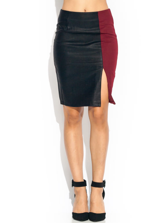 Contrast Faux Leather Pencil Skirt BLACKWINE