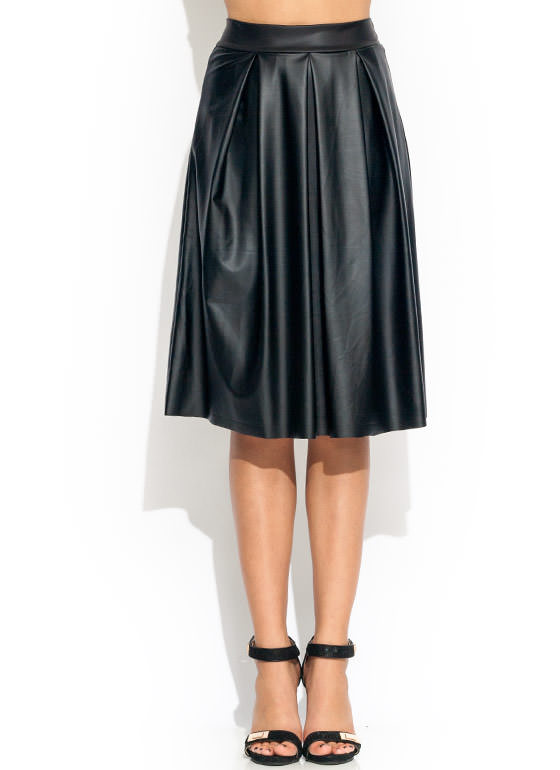 Pleated A Line Midi Skirt BLACK