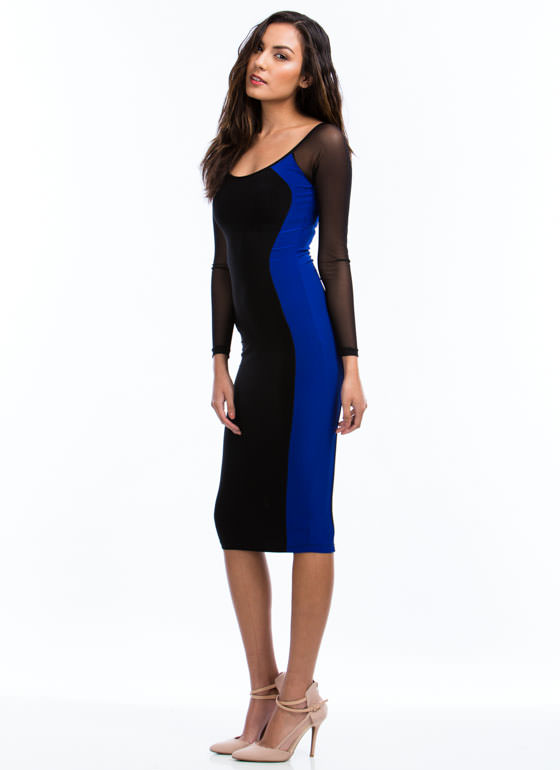 Hourglass Figure Midi Dress ROYALBLACK