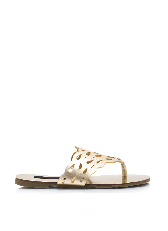 Get Loopy Cut Out Thong Sandals GOLD