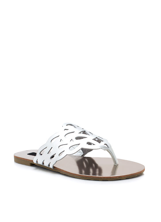 Get Loopy Cut Out Thong Sandals SILVER
