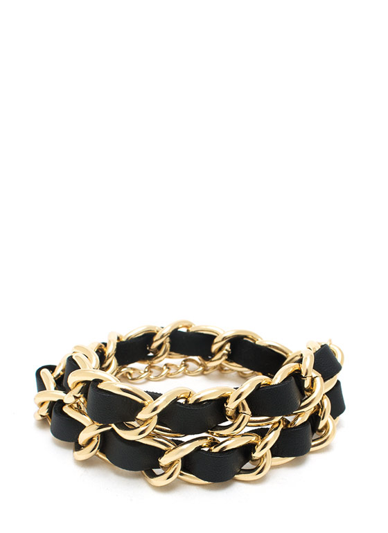 Wrap Star Faux Leather Bracelet BLACKGOLD