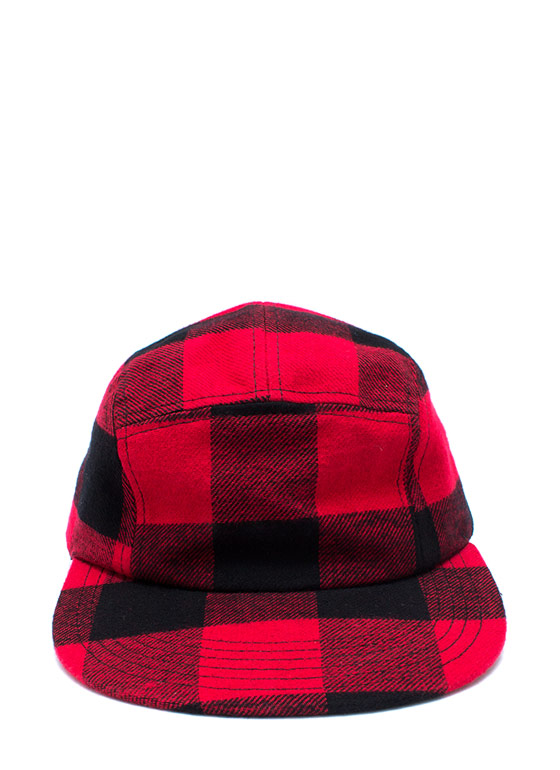 Lumber Jacked Five Panel Hat BLACKRED