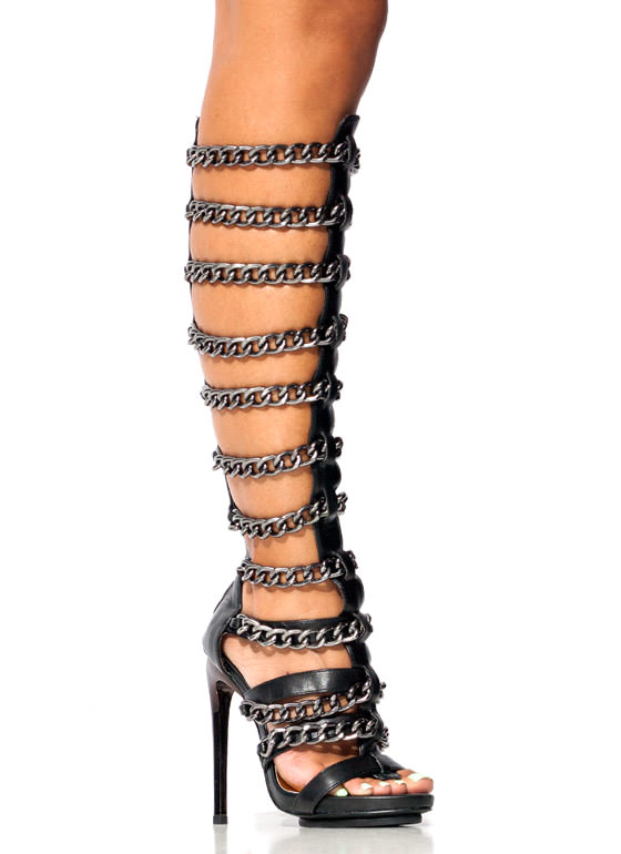 Fresh Chain Ge Gladiator Heels BLACK (Final Sale)