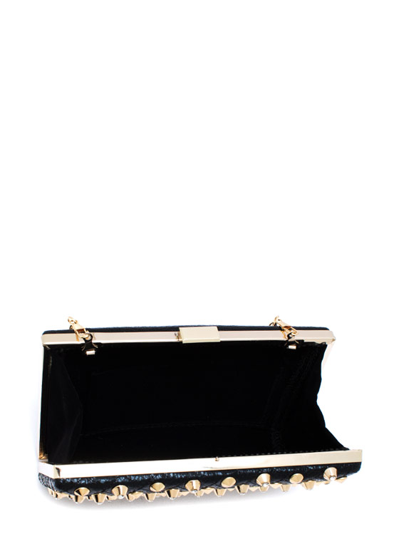 Tough As Diamonds Studded Clutch BLACKGOLD