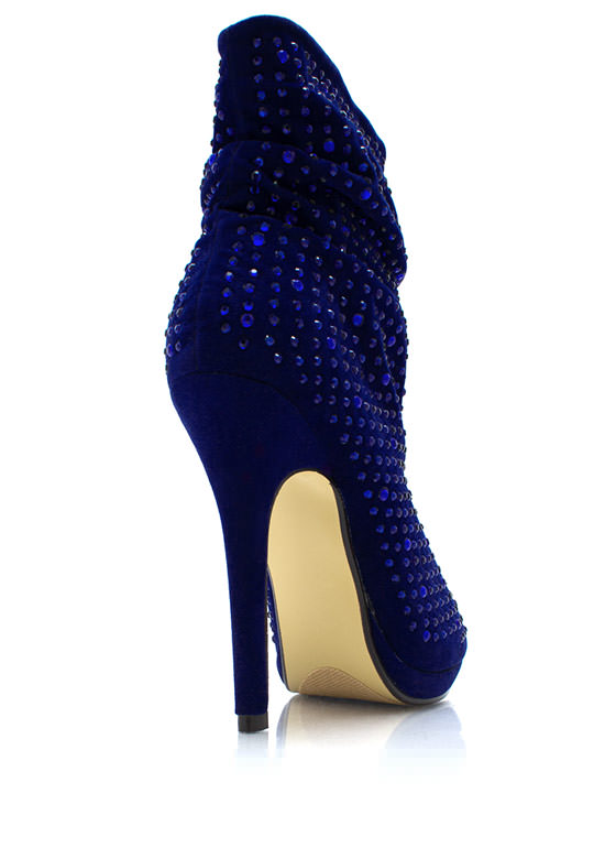 Bedazzled Open Toe Booties BLUE