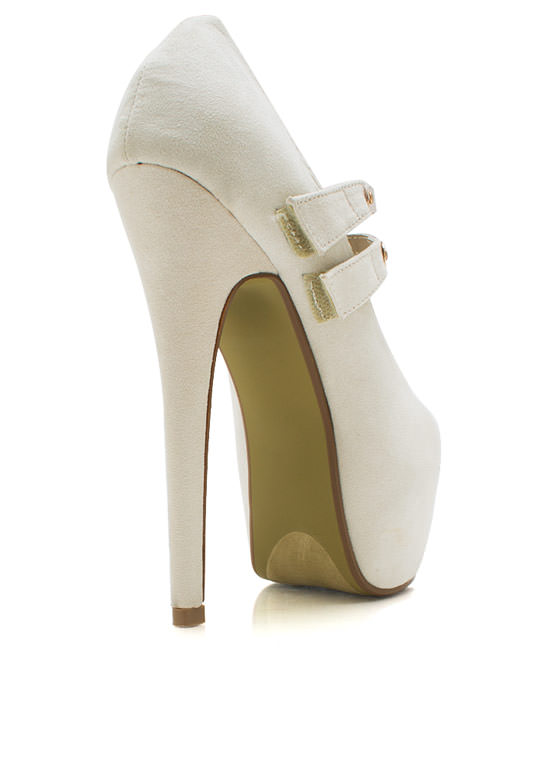 Double Strap Mary Jane Pumps NUDE