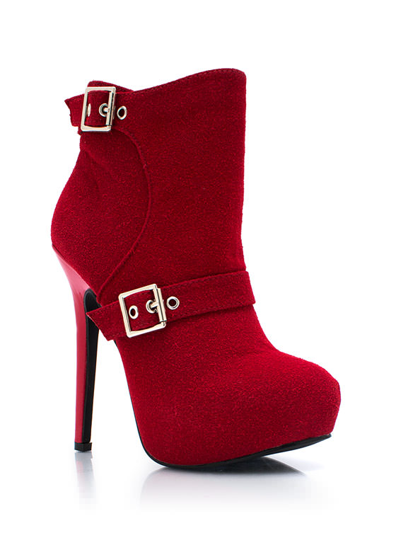 Buckle Down Textured Booties RED