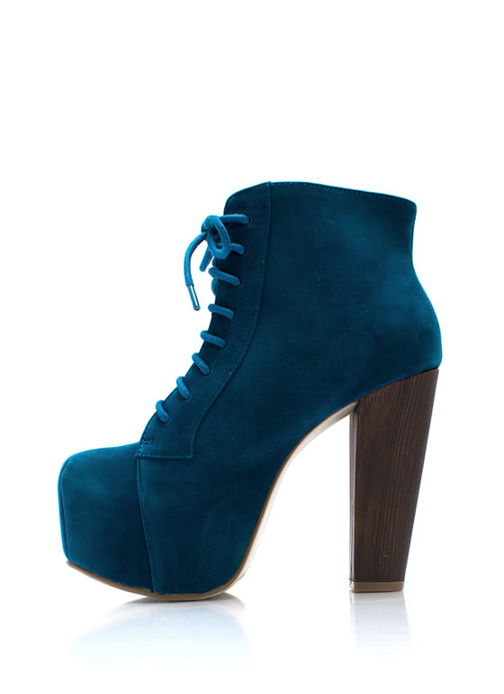 You Wood Chunky Booties TEAL