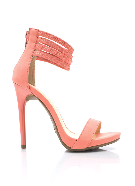 Rock Bands Ankle Strap Heels CORAL