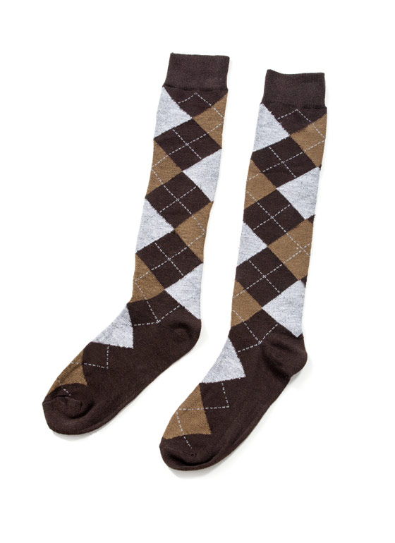 Argyle 4 Miles Knee High Socks BROWNHGREY