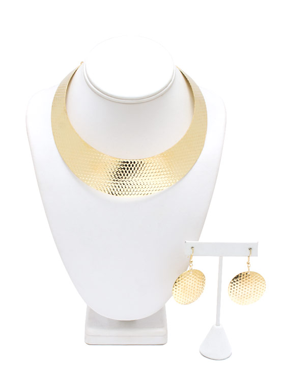 Totally Hammered Collar Necklace Set GOLD
